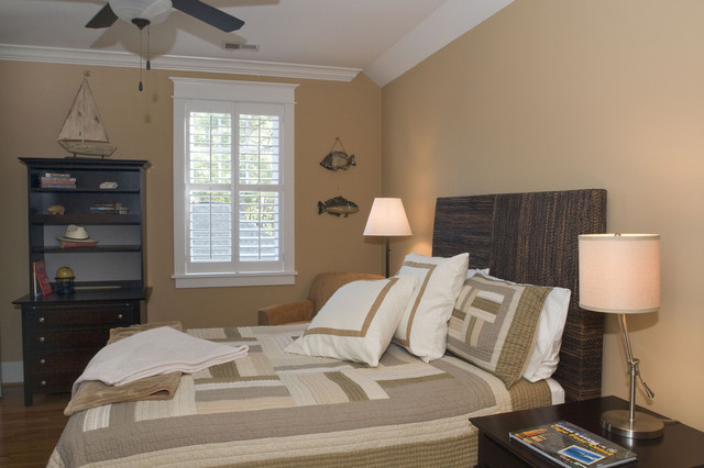 seagrass headboard Bedroom Eclectic with bed pillows bookcase bookshelves