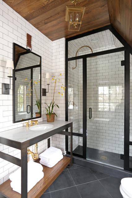 Sealing Grout Bathroom Transitional with Black and White Bathroom
