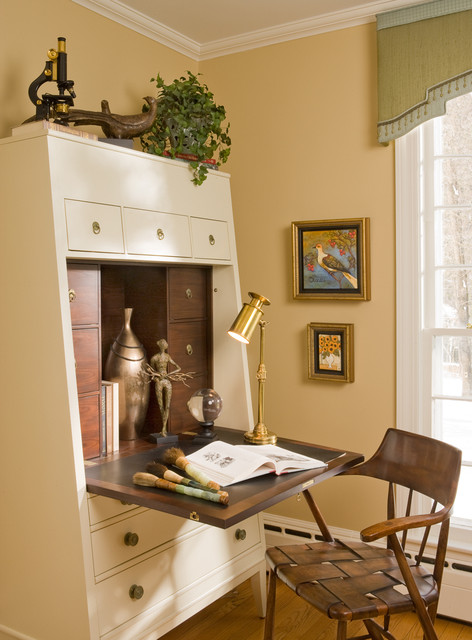 Secretary Desk with Hutch Home Office Eclectic with Abattant Arm Chair Armoire