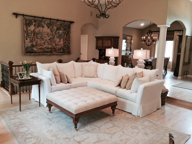 Sectional Slipcovers Living Room Traditional with Antiques Cozy Cream Custom