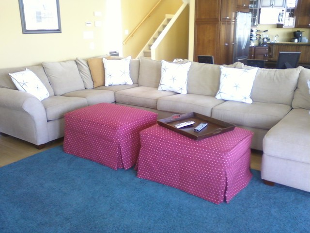 Sectional Sofa Slipcovers Spaces Beach with Alley Beige Box Ottomans