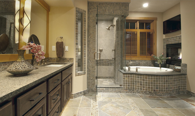 Self Adhesive Wall Tiles Bathroom Contemporary with Dark Cabinets Granite Counter