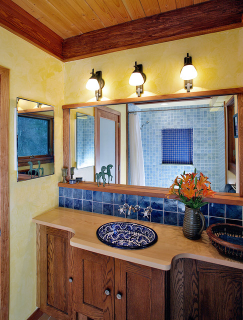 Self Adhesive Wall Tiles Bathroom Mediterranean with Blue and White Sink