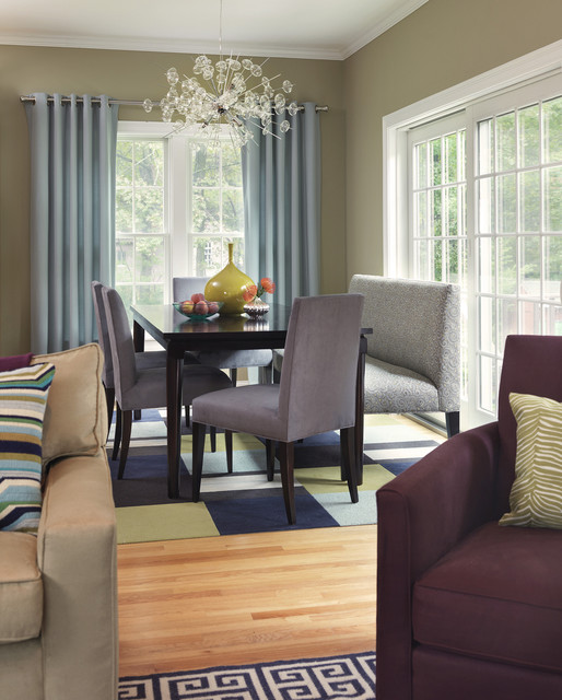 Settee Bench Dining Room Transitional with Blue Drapes Bubble Chandelier