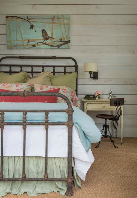 Shabby Sheek Bedroom Farmhouse with Blue Bedding Distressed Nightstand