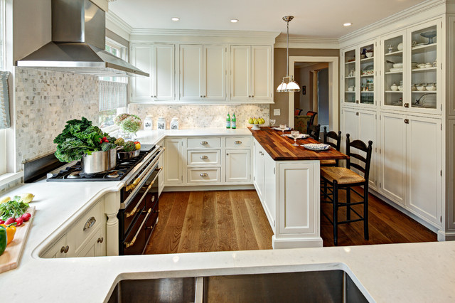 Shabby Sheek Kitchen Traditional with Beige Cabinets Beige Ceiling