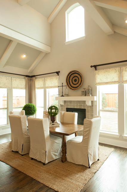 Shaddock Homes Dining Room Traditional with Arched Window Cathedral Ceiling