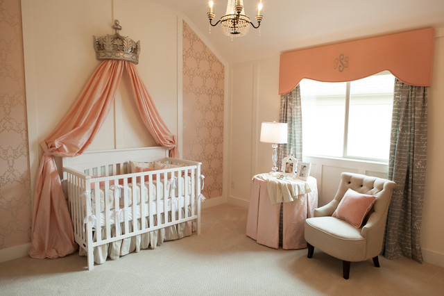 Shaddock Homes Nursery Traditional with Beige Carpet Chandelier Gray