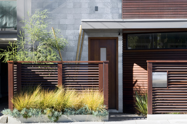 Shadow Box Fence Entry Contemporary with Clerestory Front Door Geometric