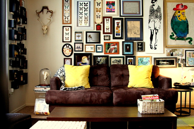 Shadowbox Frames Living Room Eclectic with Gallery Wall