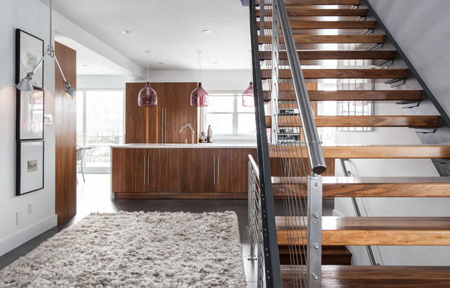 shag area rug Staircase Contemporary with aircraft cable arm ceiling