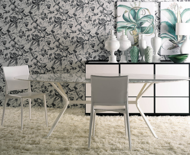 Shag Carpet Dining Room Contemporary with Black and White Botanical
