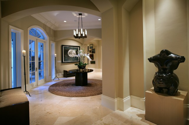 Shaker Beige Entry Contemporary with Archway Artwork Baseboards Candles