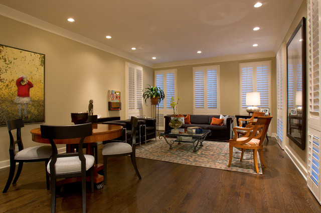 Shaker Beige Living Room Eclectic with Area Rug Baseboards Ceiling