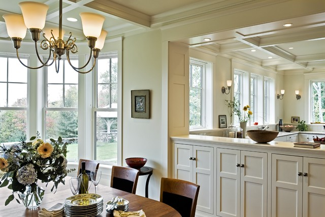 Shaker Cabinet Doors Dining Room Victorian with Bay Window Ceiling Lighting