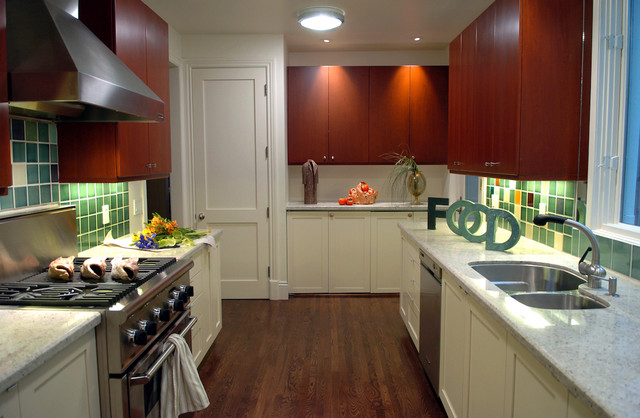 Shaker Cabinet Doors Kitchen Contemporary with Ceiling Lighting Dark Floor