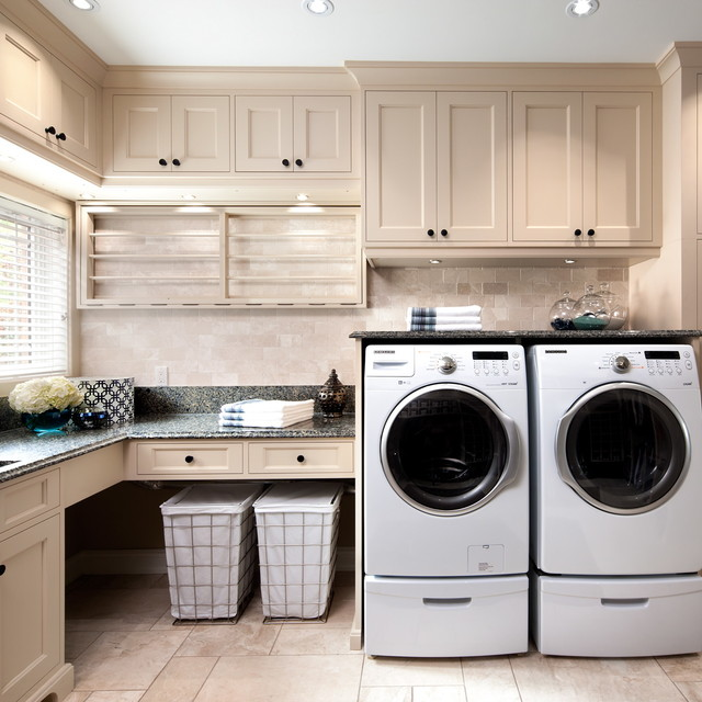Shape Sorter Laundry Room Traditional with Blinds Counter Cove Lighting