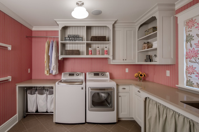 Shape Sorter Laundry Room Traditional with Built in Cabinetry Ceiling Light