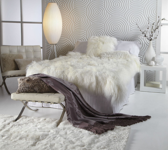 Sheepskin Blanket Bedroom Contemporary with Accessories Auskin Barcelona Chair