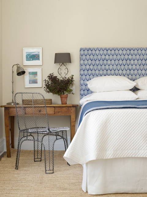 Sheepskin Blanket Bedroom Transitional with Blue and White Bedding