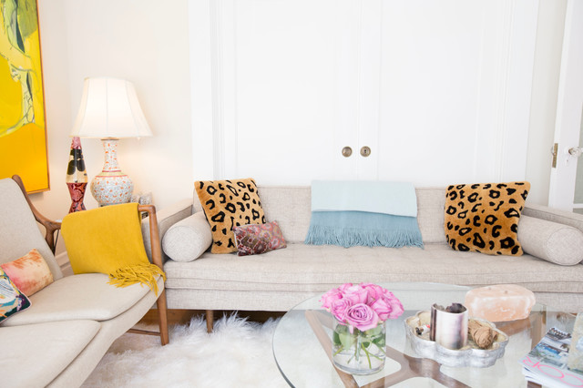 Sheepskin Blanket Living Room Eclectic with Apartment Art Bright Eclectic