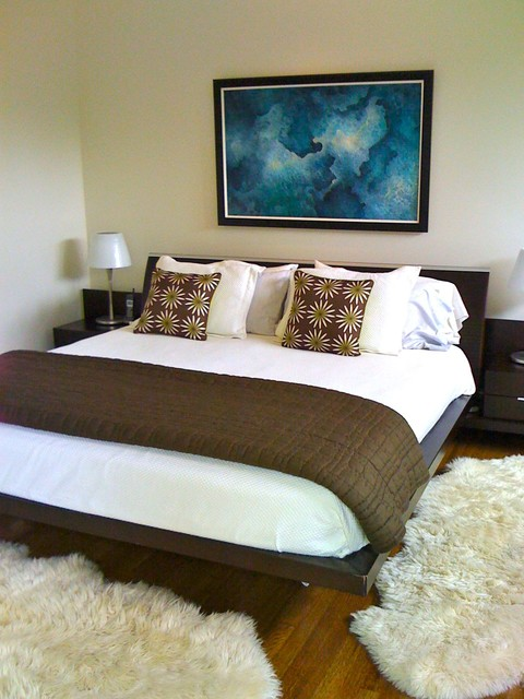 Sheepskin Rug Bedroom Contemporary with Brown Quilt Floral Pillows