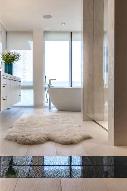 Sheepskin Rugs Bathroom Contemporary with Accent Tile Bath Black