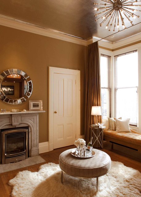 Sheepskin Rugs Bedroom Victorian with Baseboard Brown Wall Ceiling
