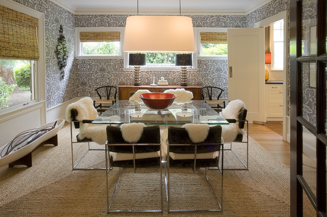 sheepskin rugs Dining Room Modern with glass dining table graphic