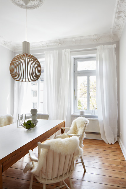 Sheepskin Throw Dining Room Scandinavian with Ceiling Medallion Crown Molding