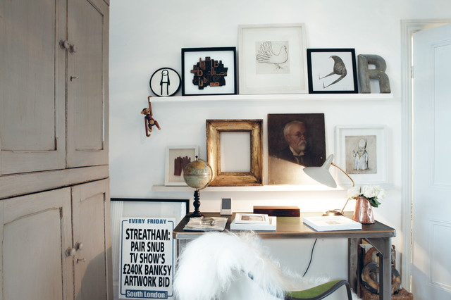 Sheepskin Throw Home Office Eclectic with Antique Globe Bojesen Monkey