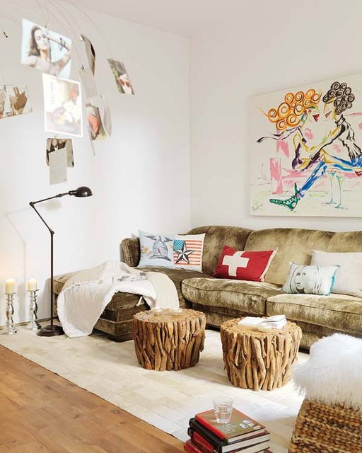 Sheepskin Throw Living Room Eclectic with Accent Table Alternative Coffee