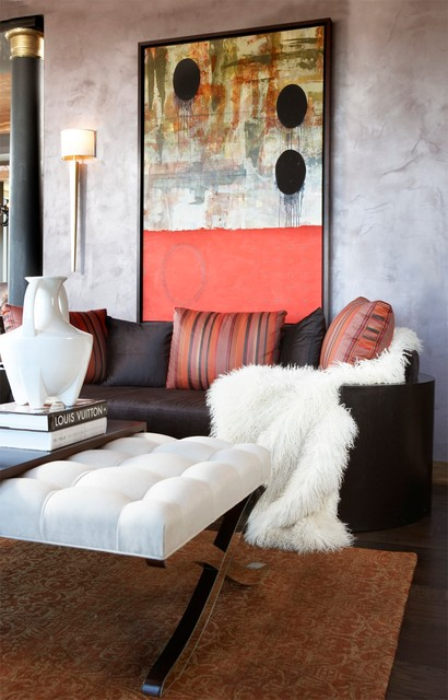 Sheepskin Throw Living Room Modern with Abstract Art Brown Sofa