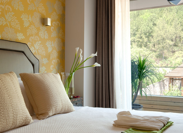 Sheer Curtain Panels Bedroom Modern with Accent Wall Asian Inspired