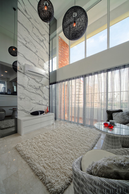 Sheer Curtain Panels Living Room Contemporary with Area Rug Brick Flokati