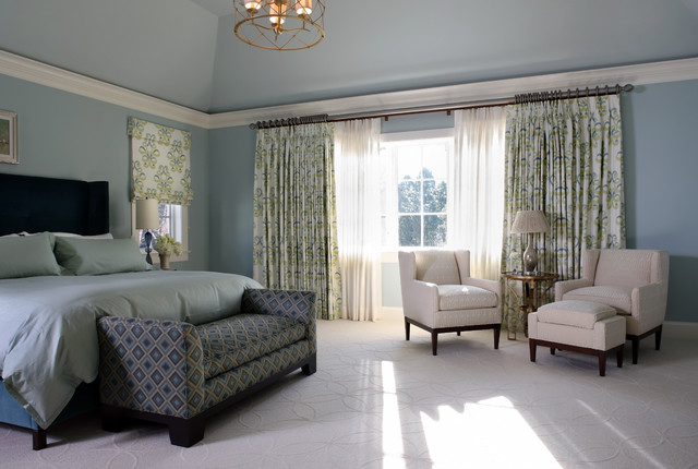 Sheer Drapes Bedroom Contemporary with Arm Chairs Blue Carpeting