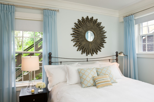 Sheer Drapes Bedroom Contemporary with Bedside Table Blue Wall