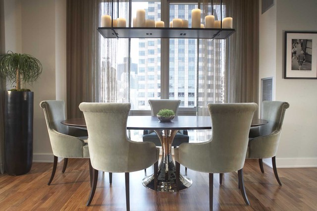 Sheer Drapes Dining Room Contemporary with Custom Chandelier with Candles