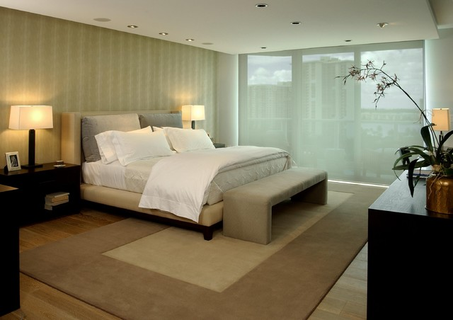 Sheer Window Panels Bedroom Contemporary with Accent Wall Area Rug