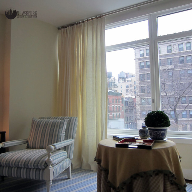 Sheer Window Panels Family Room Traditional with Automated Window Shades Blinds