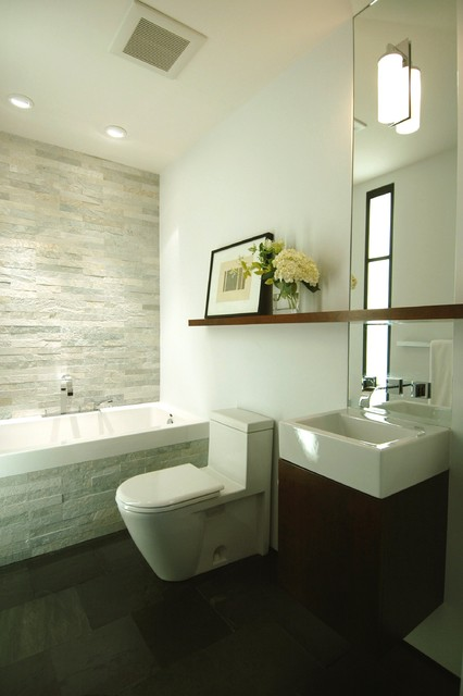 shelfs Bathroom Contemporary with bath surround black and