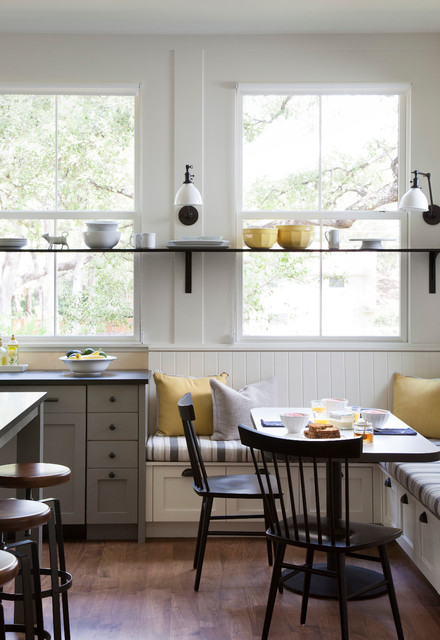 Shelfs Kitchen Farmhouse with Banquette Seating Brackets Breakfast