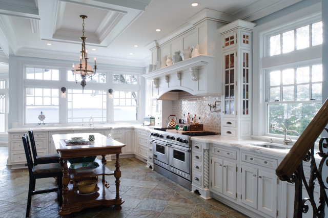 Shelfs Kitchen Traditional with Beige Tile Backsplash Glass