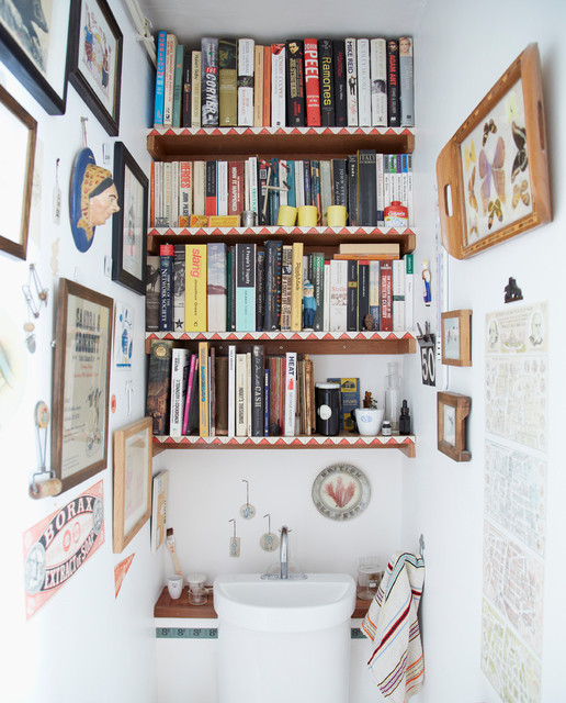 Shelfs Powder Room Eclectic with Book Shelf Cloakroom Downstairs1