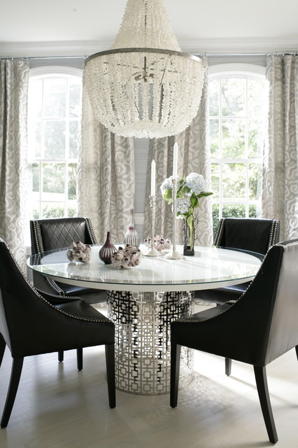 Shell Chandelier Dining Room Contemporary with Arched Windows Black Dining1