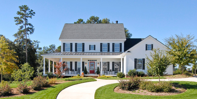 Sherwin Williams Duration Exterior Farmhouse with Columns Contemporary Farmhouse Covered
