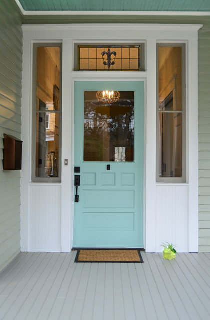 Sherwin Williams Exterior Paint Entry Victorian with Atlanta Blue Front Door