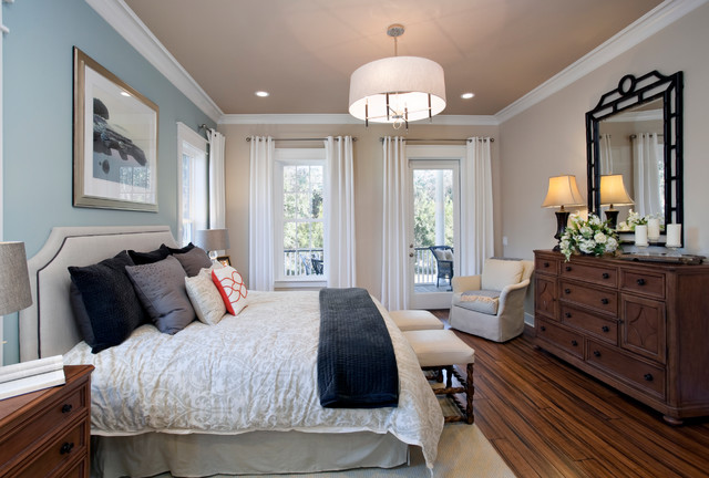 Sherwin Williams Kilim Beige Bedroom Traditional with Bamboo Floors Bedskirt Black