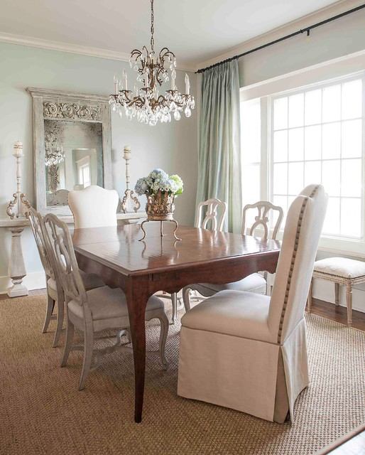 Sherwin Williams Sea Salt Dining Room Victorian with Area Rug Baseboard Centerpiece