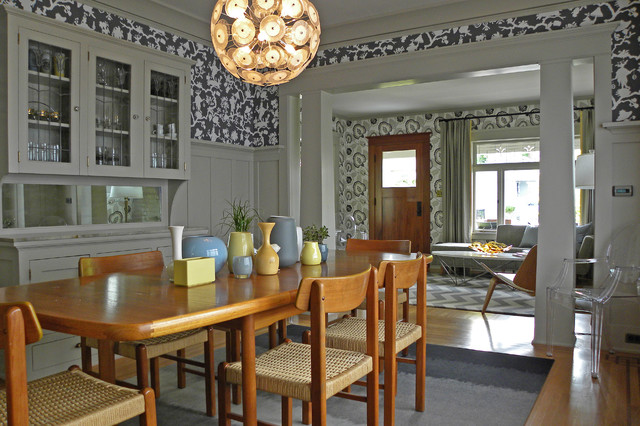 Sherwin Williams Wallpaper Dining Room Victorian with Area Rug Asian Bench